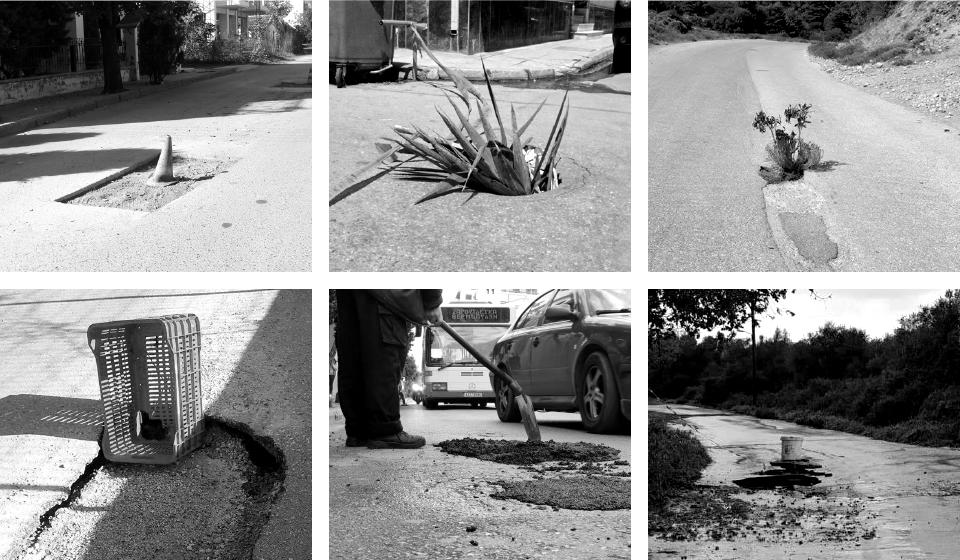 Κολάζ με έξι ασπρόμαυρες φωτογραφίες με διάφορες λακκούβες σε δρόμους