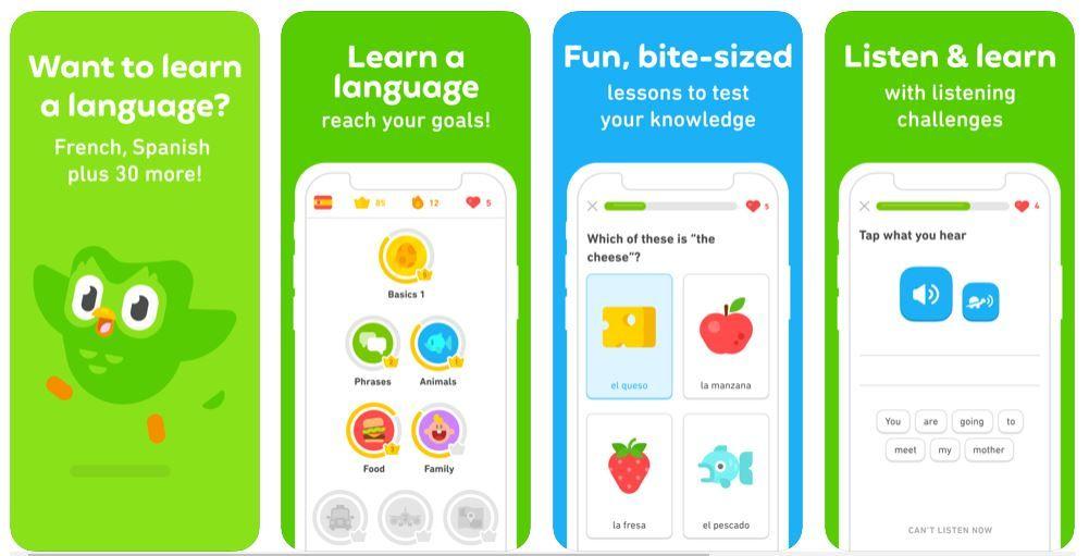 απεικόνιση του πώς είναι η εφαρμογή Duolingo στο κινητό