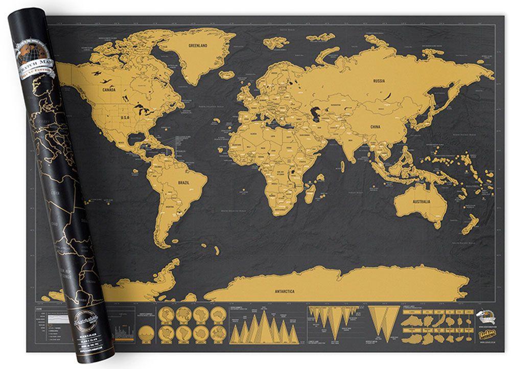 μαύρος και κίτρινος χάρτης του κόσμου