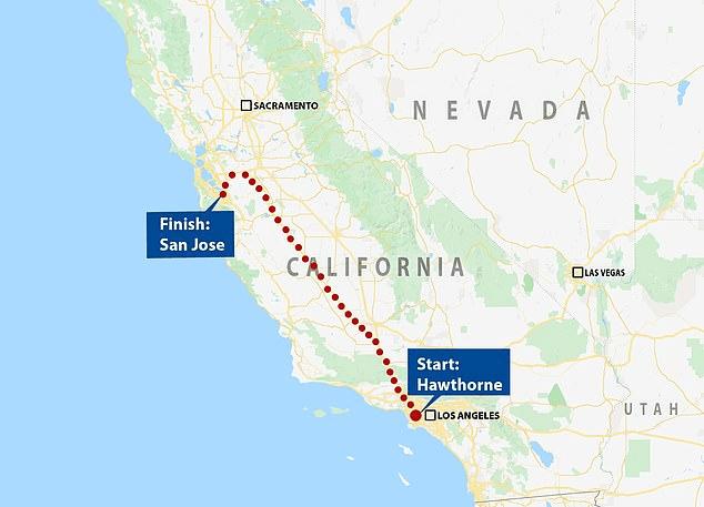 Χάρτης που δείχνει τη διαδρομή του Autopilot Full Self Driving στην Καλιφόρνια