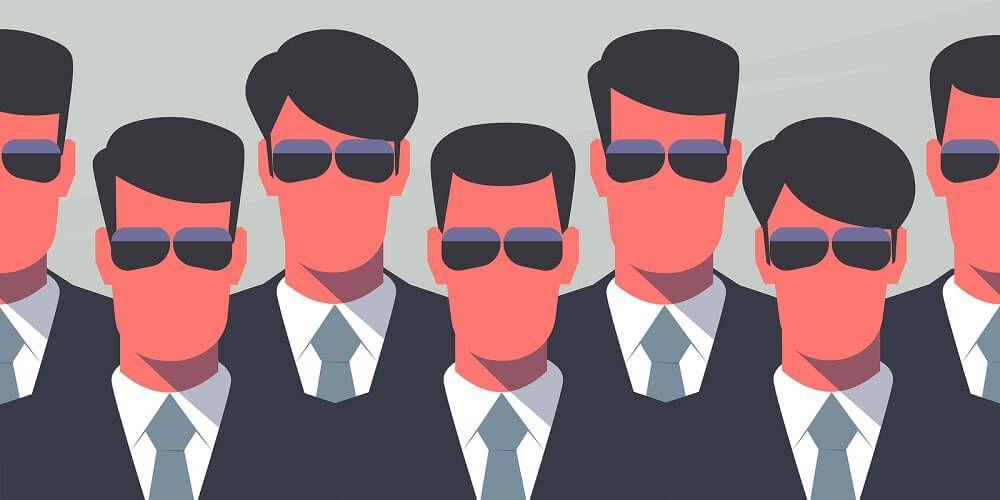 Σκίτσο αντρών χωρίς στόμα που φορούν κοστούμι, μαύρα γυαλιά και έχουν κόκκινο πρόσωπο