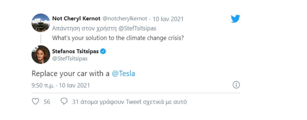 Tweet του Τσιτσιπά που στηρίζει τα ηλεκτρικά Tesla