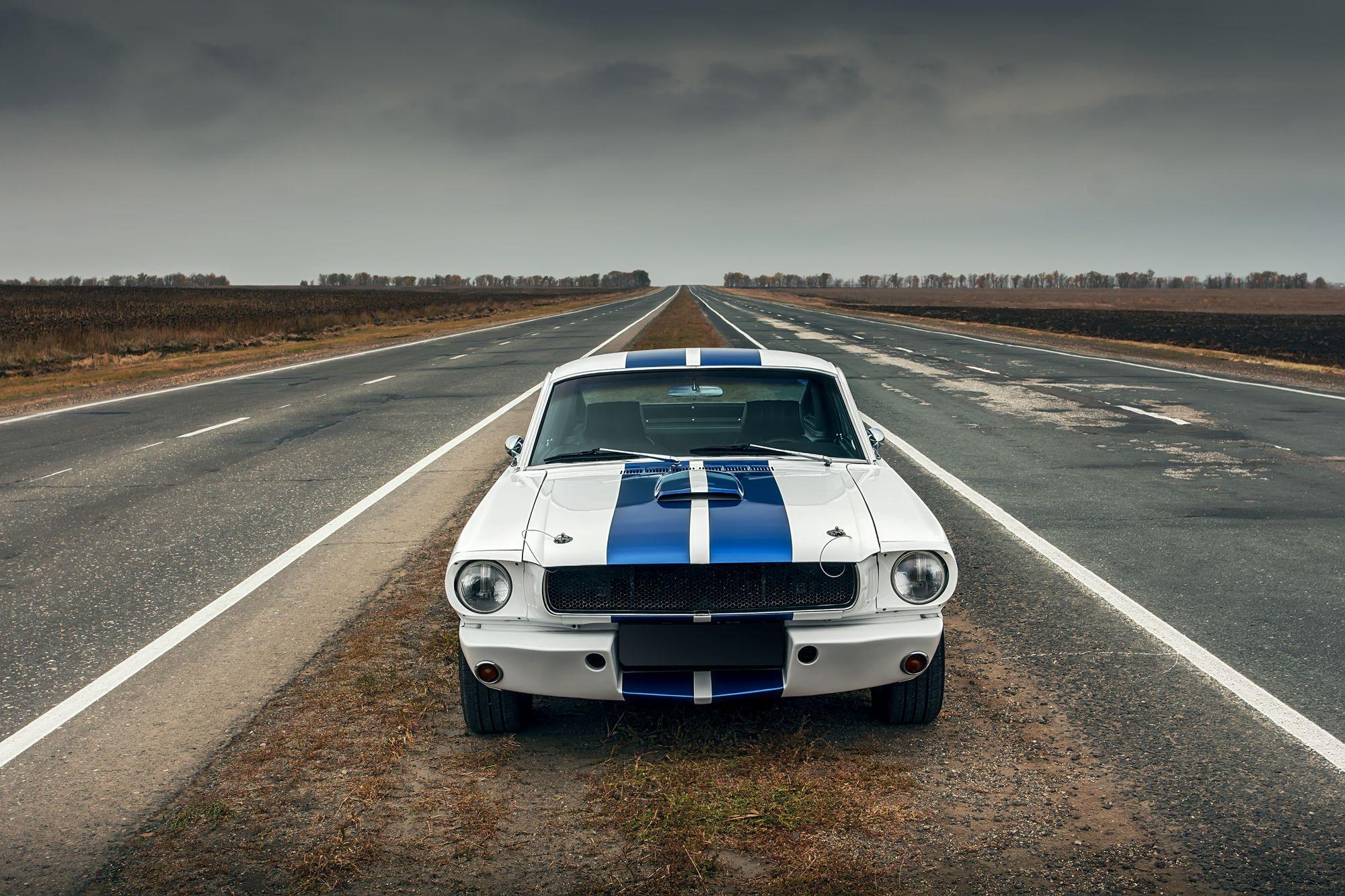 λευκό/ μπλε ρίγες σπορ αυτοκίνητο