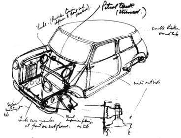 Σχέδιο για το Morris Mini Minor σε χαρτί