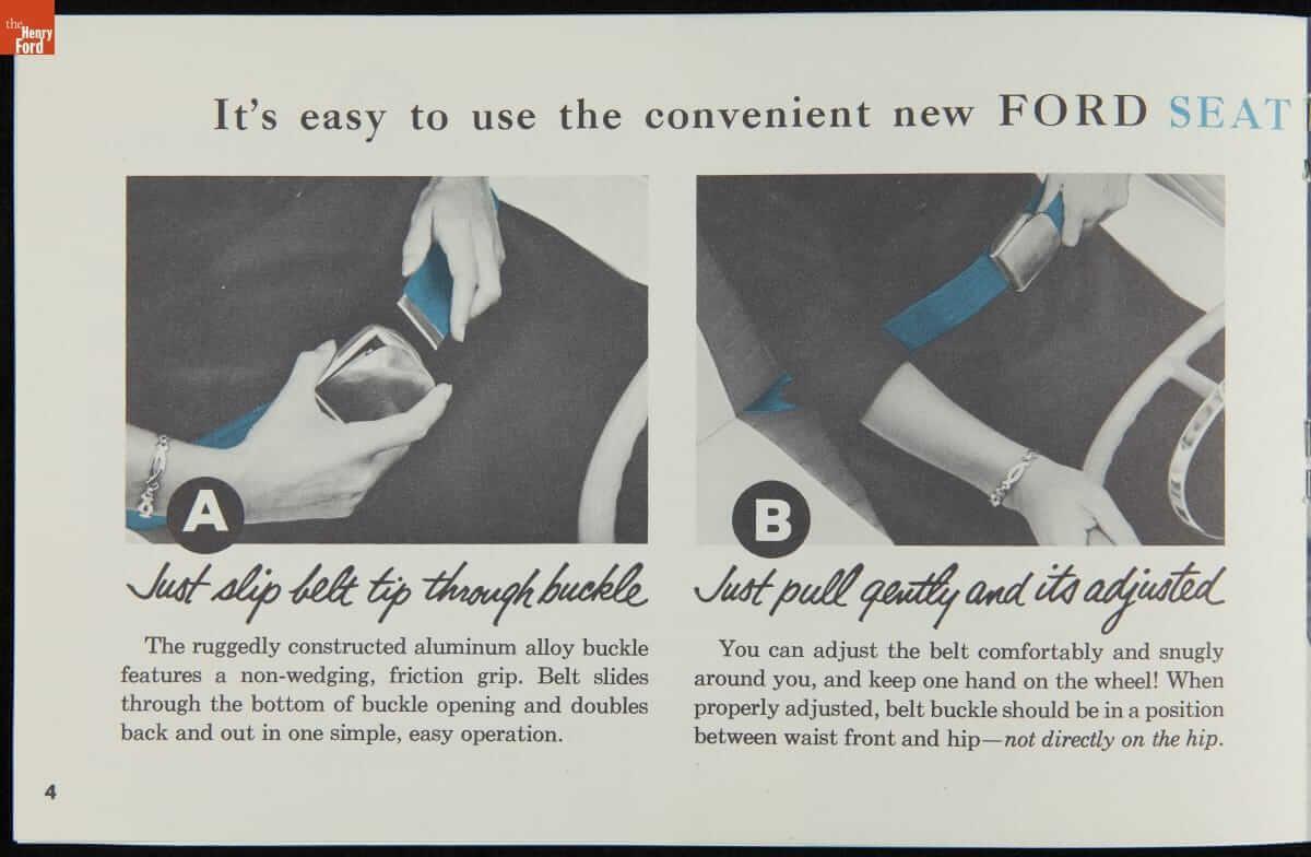 Διαφήμιση της Ford το 1956 για τη χρήση ζώνης ασφαλείας δύο σημείων
