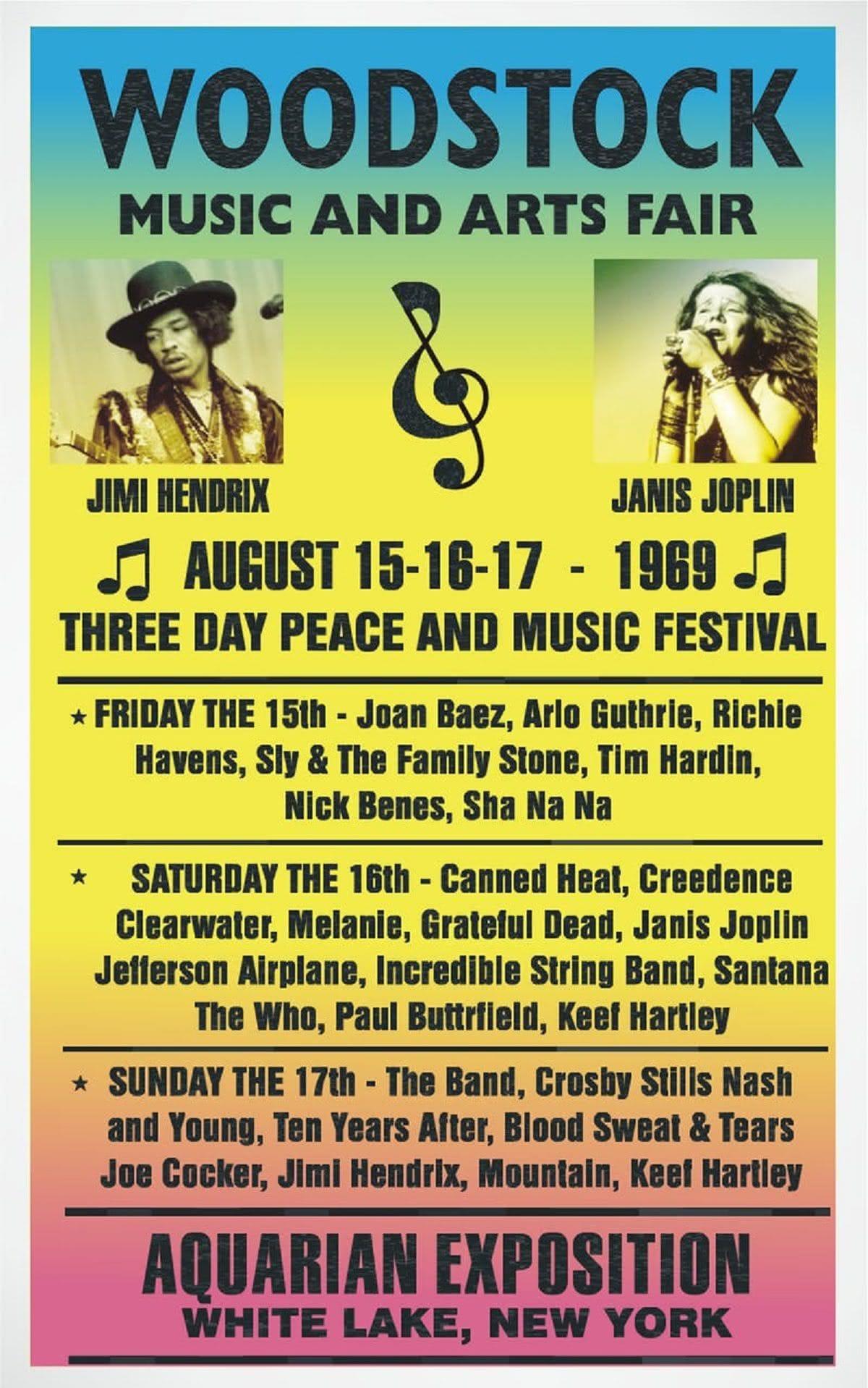 αφίσα από το Woodstock με το πρόγραμμα των εμφανίσεων