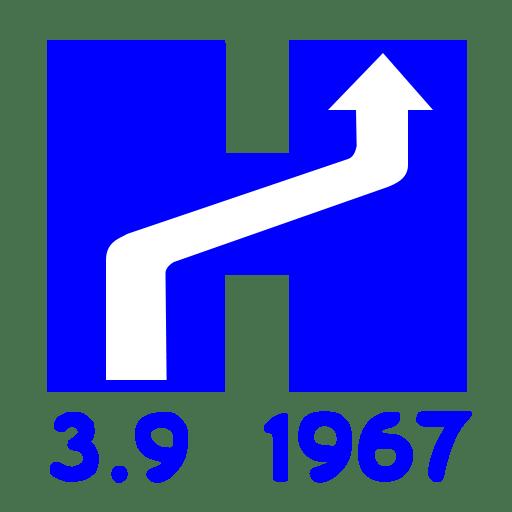 Λογότυπο της ημέρας με βελάκι που δείχνει προς τα δεξιά και την ημερομηνία 3-9-1967