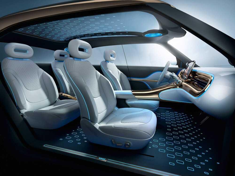 Εσωτερικό αυτοκινήτου με λευκά καθίσματα